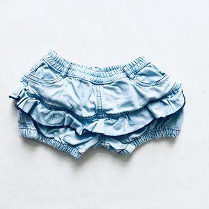 Joana Joao Light Wash Ruffle Denim Bloomer Shorts